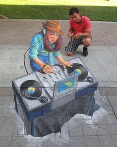"""""""Tracy Lee Stum is one of the amazing chalk artists whose work has been featured at the Youth in Arts Italian Street Painting Festival in San Rafael for over 10 years. She consistently produces brilliant anamorphic works that are real crowd pleasers."""