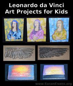Susan's Homeschool Blog - http://susanevans.org/blog/leonardo-da-vinci-art-projects-kids/