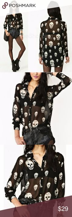 Skulls ★ BUNDLE FOR A BETTER DEAL. Bundling will display the subtotal for all items. This includes any  BUNDLE DISCOUNTS  and shipping.   Skulls Sheer Long Sleeve Buttoned Up Blouse  NWOT  Material:Chiffon Color:Black Pattern Type:Print Collar:Lapel Type:Sheer Decoration:Button Sleeve Length:Long Sleeve  Size Available: SMALL ➖Shoulder: 37 cm ➖Bust: 88 cm (35 inch) ➖Length: 63 cm ➖Sleeve Length: 57 cm Tops Blouses