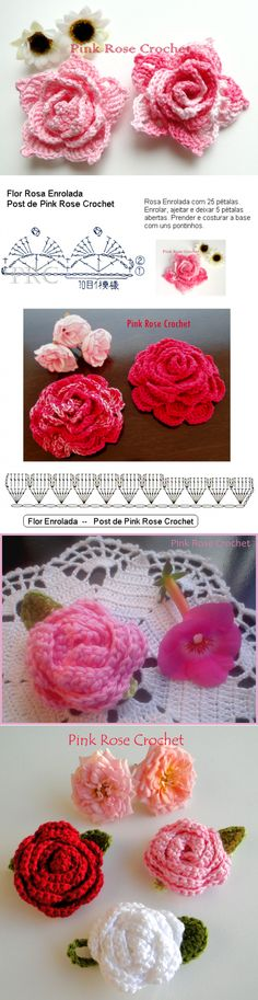 rose, crochet, can be a nice d Bag Crochet, Crochet Cross, Irish Crochet, Crochet Motif, Diy Crochet Flowers, Knitted Flowers, Yarn Projects, Crochet Projects, Crochet Bookmarks