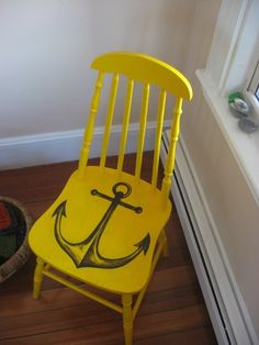 <3 anchors! I would do it in a different color but what a great way to refurbish worn out chairs!