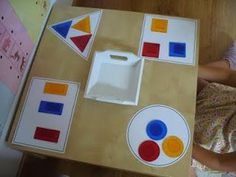 Children will stamp the correlating shape in the correct shaped paper. Montessori Trays, Montessori Toddler, Montessori Materials, Montessori Activities, Infant Activities, Preschool Activities, Math For Kids, Fun Math, Baby Sensory Play