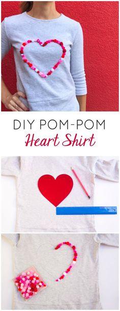 DIY Pom-Pom Heart Shirt   Design Improvised