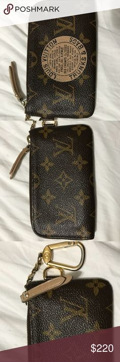 Louis Vuitton monogram key pouch Louis Vuitton monogram Complice trunks & bags key pouch in good condition. Interior is clean with some darkening from use no tears or odor it is made in France and comes with dust bag. Hardware is tarnished with scratches it also has has two flat pockets and a key fob holder and outside d ring. It's hard to get a good focused picture of serial # which is CT4077. Zipper pull has some wear in it with peeling and tarnishing as well. Louis Vuitton Accessories Key…