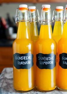 Sunshine Kombucha with Turmeric, Ginger, Honey, and Lemon