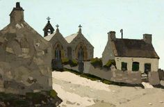 The Church and Cottages, Aberffraw by Kyffin Williams