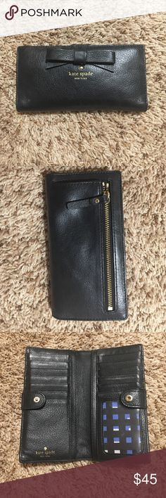 Kate Spade wallet Storage for up to 12 credit cards & 1 ID. 4 check/cash sized compartments (2 on either side). Snap button closure. Zipper compartment on back for coin storage. Kept clean and very rarely used. Purchased at NORDSTROM last fall for $98.00 kate spade Bags Wallets