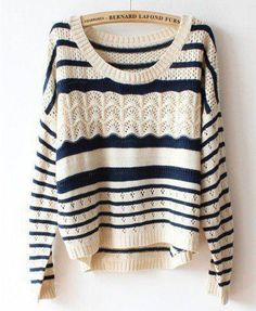 Navy and cream sweater. Crochet and stripped