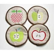 Linen and Apples Coaster Set