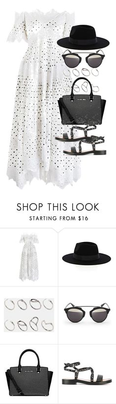 """""""Outfit with a summer party"""" by ferned ❤ liked on Polyvore featuring Zimmermann, Warehouse, ASOS, Christian Dior, Michael Kors and Valentino"""