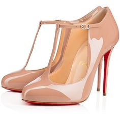 Christian Louboutin Tpoppins ($745) ❤ liked on Polyvore featuring shoes, pumps, louboutin, nude, heels stilettos, high heel pumps, patent pumps, christian louboutin shoes and nude high heel shoes