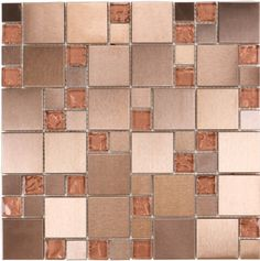 Moso Mosaics  Copper Series, Unique Shapes, Copper, Glossy, Bronze/Copper, Glass and Metal
