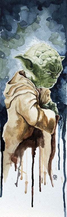 Yoda (watercolor study) | By: David Kraig, via Behance (#yoda #starwars)