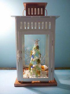 Shell and Sea Glass Christmas Tree
