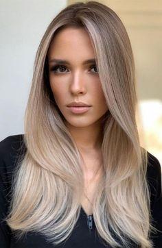 Dark Blonde Hair Color, Blonde Hair Looks, Brown Blonde Hair, Hair Color Balayage, Beige Hair Color, Cool Toned Blonde Hair, Black Hair, Brunette With Blonde Balayage, Bronde Haircolor