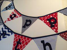 Happy birthday fabric banner, happy birthday bunting, patriotic birthday bunting