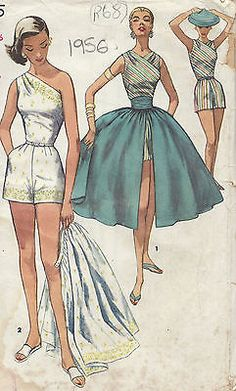 1956 Vintage Sewing Pattern B34 SKIRT CUMMERBUND PLAYSUIT (RR68)