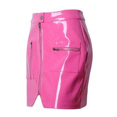 Pink High Waist Zip Front Leather Look Pencil Mini Skirt (115 RON) ❤ liked on Polyvore featuring skirts, mini skirts, pink skirt, high waisted mini skirt, faux leather skirt, high-waisted skirt and short mini skirts