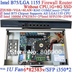 441.60$  Watch here - http://aisxq.worlditems.win/all/product.php?id=1799318992 - 1U Firewall Router with B75 chipset two SFP port intel i350 six 82583v 1000M LAN NO CPU Wayos ROS Mikrotik support 1G RAM 8G SSD