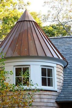 Conical roof or cone roof. this cone shaped roof is made out of aluminium material, these cones are used on mansions a lot. Copper Roof, Metal Roof, Roof Cap, Fibreglass Roof, Cone, Roof Styles, Pergola Attached To House, Pergola Shade, Diy Pergola