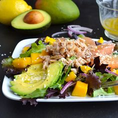 Tropical Crab Salad - mixed greens topped with mango, pink grapefruit, avocado, red onion, coconut, crab and topped with a lemony coconut dressing      Taste Love and Nourish
