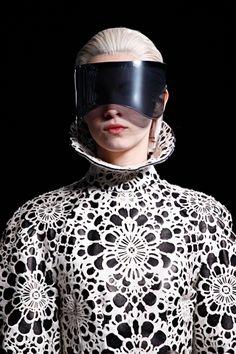 (Laser cut, sci-fi,  F12 McQueen Wonderful Inspiration for laser-cut glasses!)