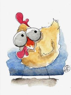 1422 best watercolor and painting ideas images Watercolor Pencil Art, Watercolor Art Paintings, Cute Paintings, Happy Paintings, Watercolor Animals, Painting & Drawing, Art And Illustration, Chicken Art, Guache