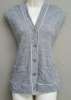 $178 Eileen Fisher hoodie vest ripple knit cotton reverse raw seams moon gray XS | Clothing, Shoes & Accessories, Women's Clothing, Sweaters | eBay!
