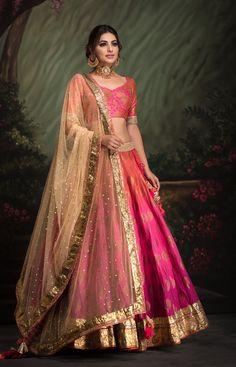 Shaded Fuschia Pink Banarsi lehenga #HinduWeddings