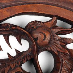 Carved Winged Dragon Plaque made from Raintree wood showing amazing craft skills of our workshop in Indonesia