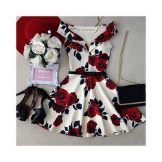 Vestido NEOPRENE C/ Bojo Princesa Marisa ( Estampa FUNDO OFF C/ ROSAS) - Melrose Brasil