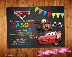 Invitación de Cars de Disney coches cumpleaños por SuperFunnyParty