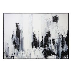 Black And White Abstract Brush Stroke Canvas - Black Frame