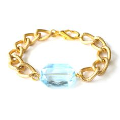 Larissa Arm Candy Translucent Blue Plastic Gem Bracelet - Chunky Textured Gold Curb Chain Bracelet - Jewel Arm Candy Chunky Chain Bracelet