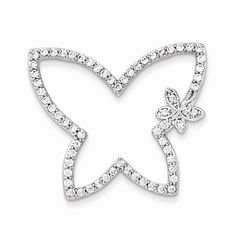 Sterling Silver & CZ Butterfly Chain Slide