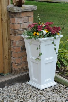 "Mayne Fairfield tall 28"" patio planter in white! Made in the USA! www.gomayne.com"