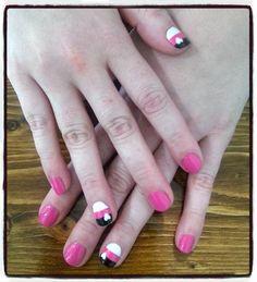 nails desing shellac pink