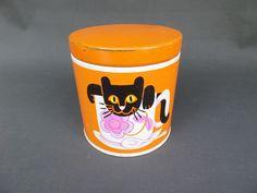 BOITE VINTAGE EN TOLE année 70 orange  chat dans une tasse colle scotch