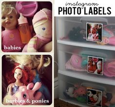 Use instagram to make photo labels for kids stuff, drawers, etc. (especially great for non-readers) www.sisterssuitcaseblog.com #instagram #organization #kids