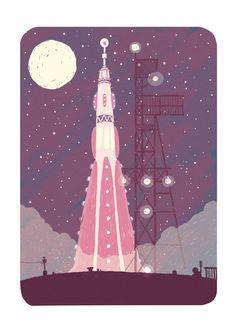 #illustration #JeoffreyMagellan #rocket #moon