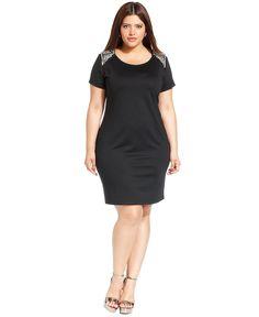 ING Plus Size Dress, Short-Sleeve Rhinestone Bodycon - Plus Size Dresses - Plus Sizes - Macy's