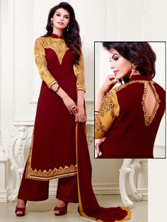Flattering maroon color faux #Georgette kameez is beautified with resham work. Item Code : SLEB291107 http://www.bharatplaza.com/new-arrivals/palazzo-suits.html