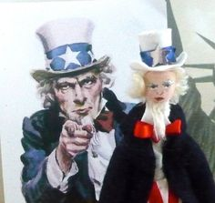 Uncle Sam Miniature Doll Historical American Art Collectible