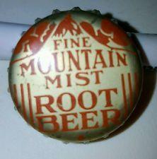 RARE Fine Mountain Mist Root Beer CORK LINED CROWN BOTTLE CAP VINTAGE ANTIQUE