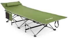 This Alpcour Folding Camping Cot is a version with an integrated headrest, a stable steel construction with a bonus pillow, storage elements, and a carry bag. Camping Cot, Camping Gear, Tent Cot, Cool Tents, Camping Equipment, Bed Sizes, Sleeping Bag, Pick One, Outdoor Furniture