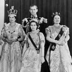 Newly crowned, Her Majesty Queen Elizabeth II  and HRH Philip Duke of Edinburgh, HRH Princess Margaret and Her Majesty Elizabeth The Queen Mother on June 2,1953. Elizabeth became  Queen on February 6,1952 upon the death of her father, HM King George VI, but the coronation did not take place for more than a year. Elizabeth was only 26 years old.