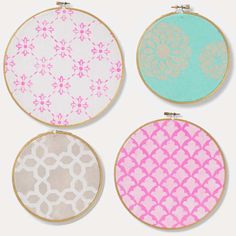 DIY Pastel Embroidery Hoops with Stenciled Patterns with Martha Stewart Crafts #plaidcrafts