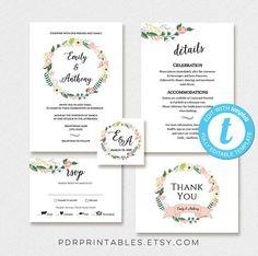 Wedding Invitation Template Set Meal Option RSVP Details DIY