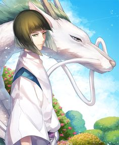 studio ghibli, spirited away, sen to chihiro no kamikakushi, haku Art Studio Ghibli, Studio Ghibli Movies, Hayao Miyazaki, Film Anime, Anime Art, Totoro, Yuumei Art, Spirited Away Haku, Chihiro Y Haku