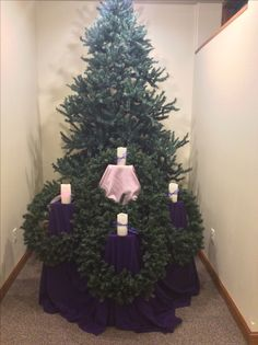 Advent St Olaf Catholic Church Christmas Candles, Christmas Ideas, Christmas Tree, St Olaf, Church Decorations, Catholic School, Crosses, Wreaths, Display